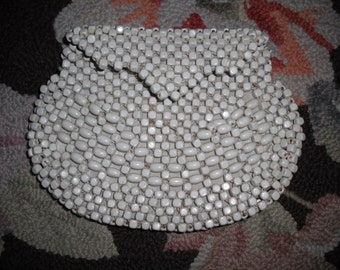 Vintage Small Wooden Beaded Clutch Purse Made in Czechoslovakia~ Excellent Condition