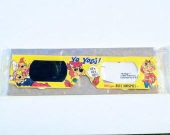Vintage 1980's Kellogg's Rice Krispies Yogi Bear 3D Glasses RETRO