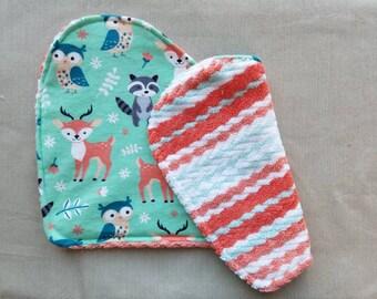 Baby Burp Cloths, Wildlife, Deer, Owl, Baby Boy, Baby Girl, Gender Neutral,  Flannel, Baby Shower Gift, New Baby, New Baby Gift, Burp cloth