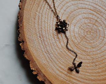nectar. a nature inspired boho flower and bee Y necklace
