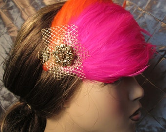 Summer Sorbet Feather Fascinator, Roaring 20s, Flapper, Old Hollywood, Great Gatsby, Downton Abbey