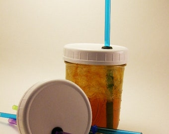 Single Ball Mason Jar Lid with Straw Wide Mouth DIY Travel Cup Mug Accessories