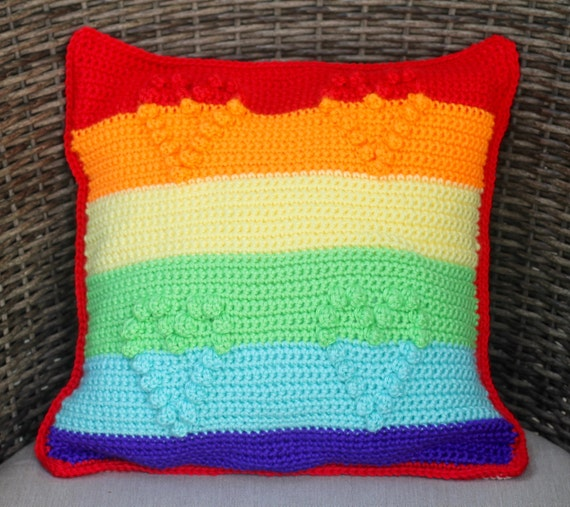 Crochet Rainbow Pillow Pattern - Crochet Pillow - Crochet Pillow Pattern