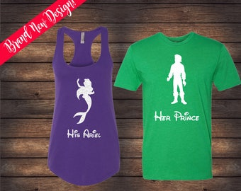 His Prince Eric Her Ariel Shirts | Little Mermaid Shirts | Disney Couple Shirts | Custom Shirts | Matching Disney Shirts | His & Her Shirts