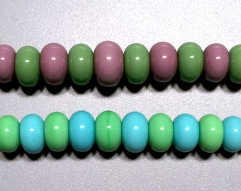 20 Opaque Pastels Spacer Pairs - Handmade Lampwork Glass Beads - SRA