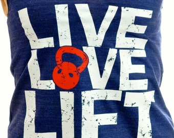 Live Love Lift Racerback Tank, light print on dark tank