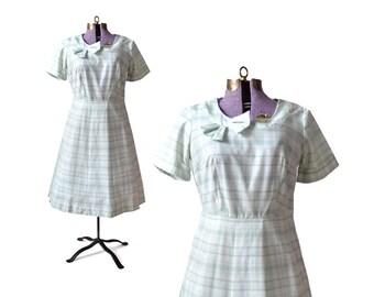 1960s Dress, 60s Dress, Green 1960s Dress, Green 60s Dress, Cotton Dress, Summer Dress, Womens Dress, Vintage 60s Dress, Vintage 1960s Dress