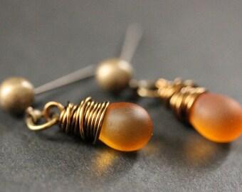 BRONZE Earrings - Frosted Amber Teardrop Earrings. Dangle Earrings. Post Earrings. Handmade Jewelry.