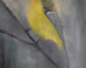 An oil painting of a beautiful solitary blue tit