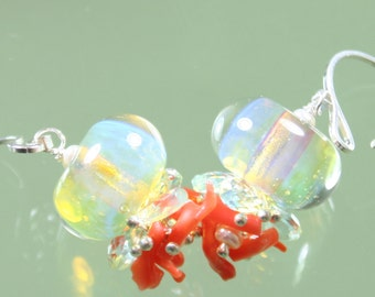 earrings- lampwork glass boro borosilicate beads - branch coral - aquamarine - pearls - sterling silver