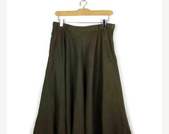 ON SALE Vintage Olive Green Slouchy Flare Skirt  from 80's/W27