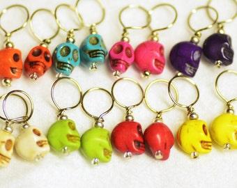 Emoji or Snag Free Howlike+ Silver Tone Skull Stitch Markers for Knitting or Crochet