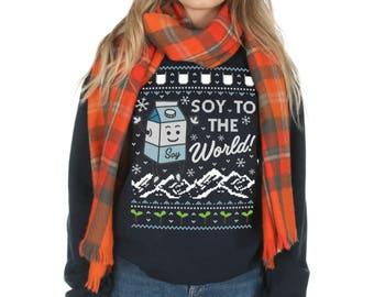 Soy To The World Christmas Sweatshirt Sweater Jumper Top Fashion Vegan Vegetarian Funny Joy Milk