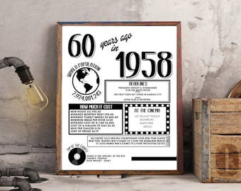 60th Birthday Poster 1958 Fun Facts Poster INSTANT DOWNLOAD printable