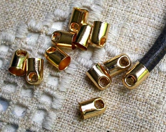 50pcs Cord Ends Tip Gold-Plated Brass 9x6mm Tube For 5mm Leather Cord