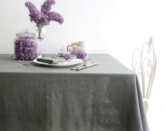 Grey Wedding TABLECLOTH made of Pre-washed Linen
