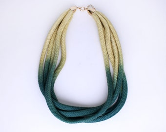 Dip Dye Cotton rope necklace in green and yellow with leather