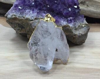 Clear Quartz Point Pendant, Gold Plated Clear Quartz Pendant, Clear Quartz Charms, Natural Stone Pendants, Clear Quartz Cluster Pendant, B