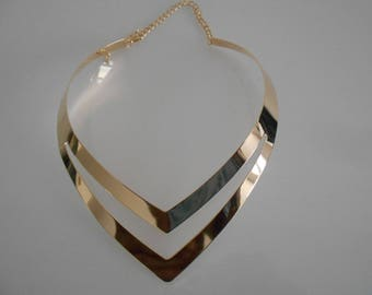 Gold multichain necklace heart, 120 mm x 40 mm gold tone