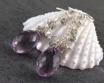 Pink amethyst earrings, handmade silver, Akoya saltwater pearl & green sapphire earrings, February birthstone-OOAK