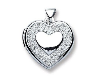 Sterling Silver Heart Of Hearts Shaped Locket With Pave Set Crystal Surround 1.5x1.5cm