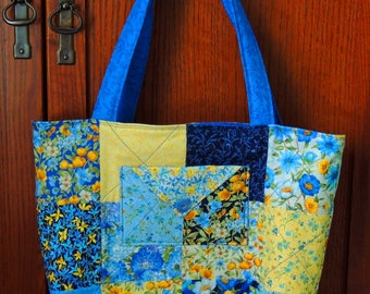 Handbag Tote Bag Purse Lined Floral Cotton Pockets Blue Yellow White Handmade Shoulder Straps Quilted Summer Colorful Charm Square