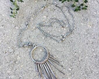 Sunburst Necklace, Hill Tribe Silver Pendant, Long Silver Necklace, Nature's Splendour, Boho Style Necklace, Oxidized Sterling Necklace