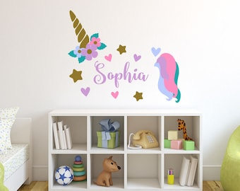 Unicorn Wall Decal   Girls Name Personalized Unicorn Wall Decal   Unicorn  Monogram Wall Decal