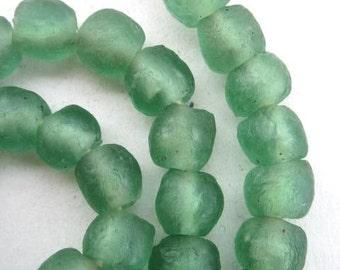 Sea Green Ghana Glass Beads (10x9mm) [64662]