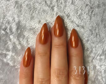 Stiletto, Lighter Copper, Brown, Mirror, Gel, Hand Painted Nail Tips / Press On / Stick On / Fake Nails - 12 pcs or 20