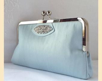 blue silk clutch bag, blue wedding purse with Art Deco diamante trim, bridal purse, silk handbag with personalisation