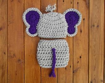 Newborn Elephant Outfit Crochet Baby Elephant Outfit Gray Newborn Photo Outfit Crochet Baby Clothes Crochet Elephant Outfit
