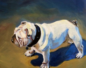 "Bulldog Waiting- 12 x 12"" Acrylic Painting"