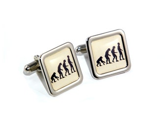 Evolution of Man Science Scientist Cufflinks with Personalised Engraved Gift Box Option