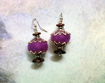 Purple and Brown Felt Earrings (1584)