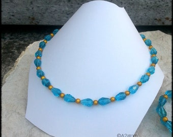 Style blue glass beads necklace retro chic