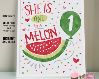 INSTANT DOWNLOAD Watermelon Birthday Centerpiece one in a melon printable watermelon Sign watermelon invitation One in a melon party