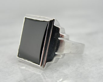 Vintage White Gold and Onyx Mens Ring VD1P2P-N