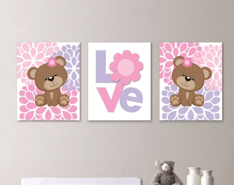 Baby Girl Nursery Art - Girl Nursery Decor - Girl Nursery Print - Baby Bear Nursery Art - Bear Art - Teddy Bear Print - Pink (NS-651)