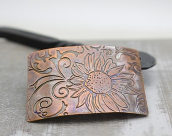 Copper Sunflower Barrette - Hair Jewelry - French Clip Barrette  - Small Copper Barrette