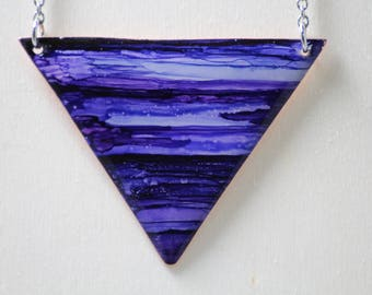 Dark Purple Triangle Hand Painted Necklace