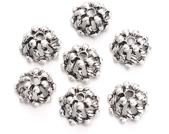 12pc 10mm antique silver finish metal bead caps-off280