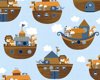Baby Boy Nursery Cotton Quilt Fabric - Noah's Story Animal Fabric Noah's Ark Fabric in Blue by Studio E Fabric - BY THE YARD