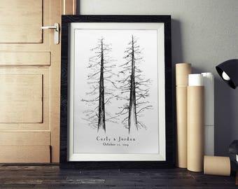 Wedding Guest Book Alternative, Signature Tree, unique guest book, pine tree, housewarming gift, fingerprint tree, rustic home, wedding