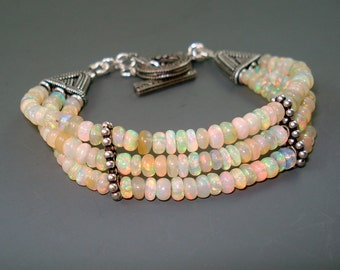 Opal Bracelet, Fire Opal Bracelet with Oxidized Sterling Silver Spacers and Clasp, Triple Strand Bracelet, OOAK Handmade Opal Jewelry