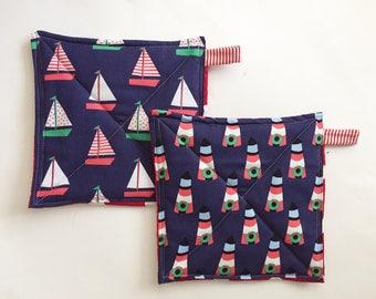 Nautical Christmas Potholder Set, Potholders, Hostess Gift, Foodie