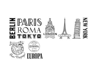 Cavallini Rubber Stamps of vintage destination design famous cities Paris Roma New York London