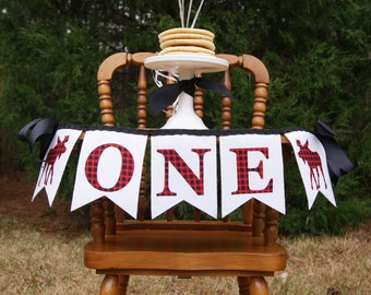 1st Birthday Boy / I AM ONE Highchair Banner / I am 1 High chair Banner / First birthday lumberjack. First birthday banner. Highchair banner