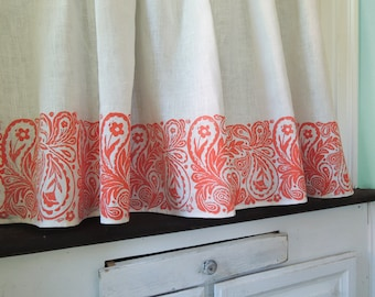 French Country Cottage Coral Paisley Cafe Curtain 27 x 27 inch home decor two panels