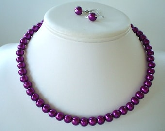 Single Strand Magenta Pearl Beaded Necklace and Earring Set    Great Brides or Bridesmaid Gifts